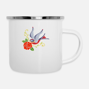 Beak Swallow with rose in the beak - Enamel Mug