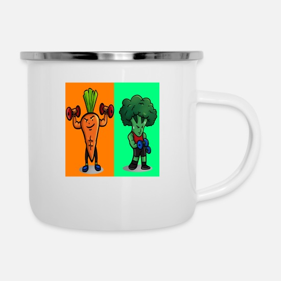 Muscular Mugs & Drinkware - Sporty and fit vegetables - Enamel Mug white