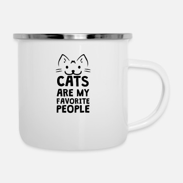 Text Cats are my favorite people - Enamel Mug