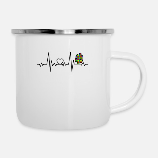 Love Mugs & Drinkware - Autism With Heartbeat Asperger Autism Day - Enamel Mug white