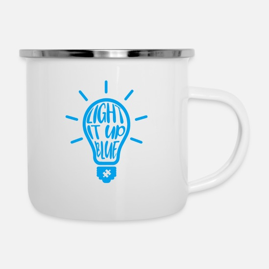 Love Mugs & Drinkware - Autism Light It Blue At Asperger Autism Day - Enamel Mug white