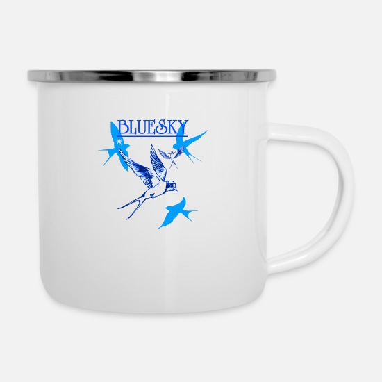 Skies Mugs & Drinkware - Blue Sky Barn Swallow - Enamel Mug white