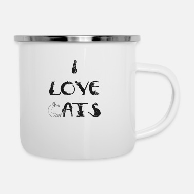 Corazon I love cats - amo a gatos - Emaille-Tasse