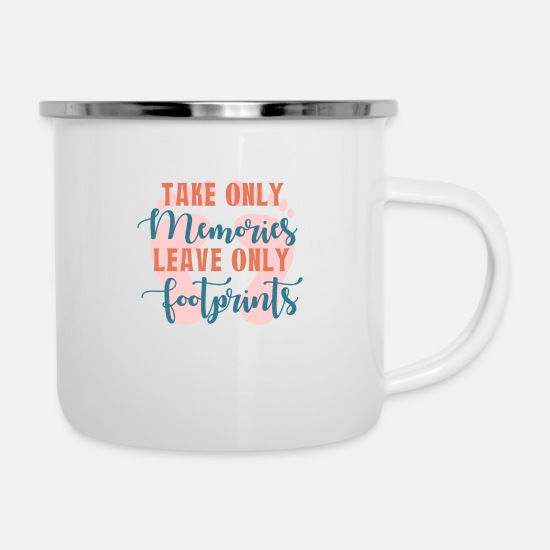 Travel Mugs & Drinkware - Memories- Footprints Gift Idea - Enamel Mug white
