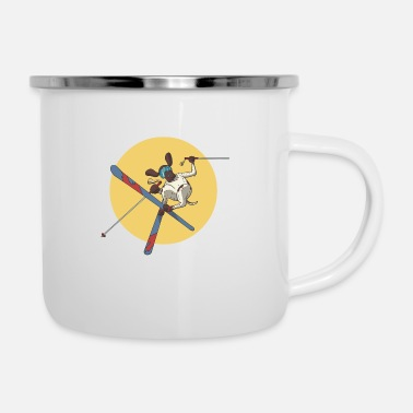 Slope German Shorthaired Pointer dog skiing on skis - Enamel Mug