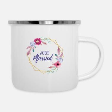 Just Just Married Kranz Geschenk Idee - Emaille-Tasse