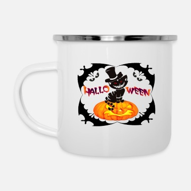 Hallowen cat - Enamel Mug
