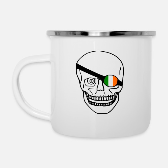 Love Mugs & Drinkware - Skull / Ireland flag - Enamel Mug white