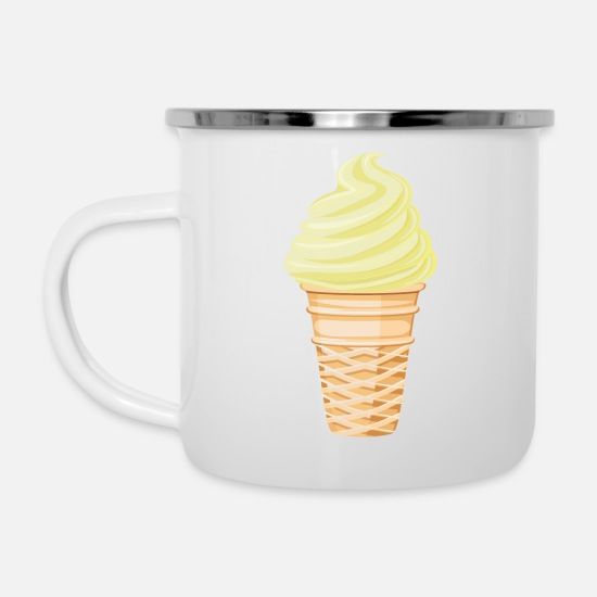 Make A Mess Mugs & Drinkware - Soft ice cream vanilla - Enamel Mug white