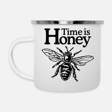 Gartenbau Time is Honey Imker Spruch Design (zweifarbig) - Emaille-Tasse