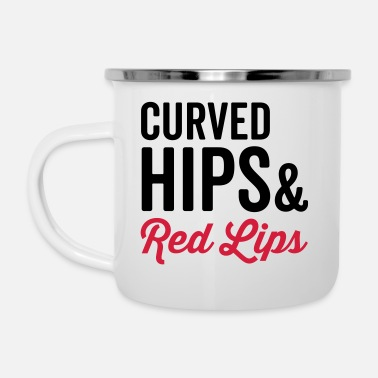 Hippie Curved Hips & Red Hips Quote - Tasse émaillée