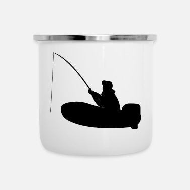 Motor Boat Fisherman on motor boat with fishing rod - Enamel Mug