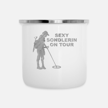Donde Sexy hobby sondlerin on tour with metal detector - Enamel Mug