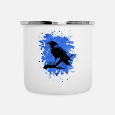 Crow Metal Crow bleached blue - Emaille-Tasse