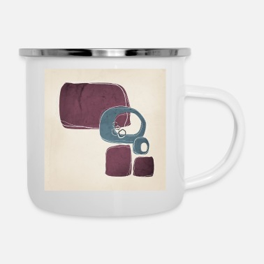 Modern Retro abstract ontwerp in Teal en Mulberry - Emaille mok