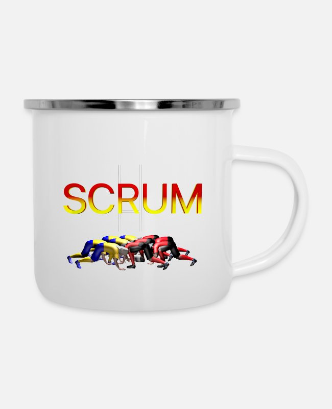 SCRUM RUGBY Mugs & Drinkware - SCRUM RUGBY - Enamel Mug white