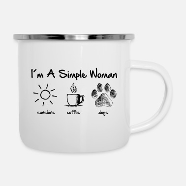 simple woman dog - Emaille-Tasse