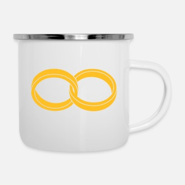 Marriage Infinity Shape wedding rings - like a Symbol of infinity - Enamel Mug