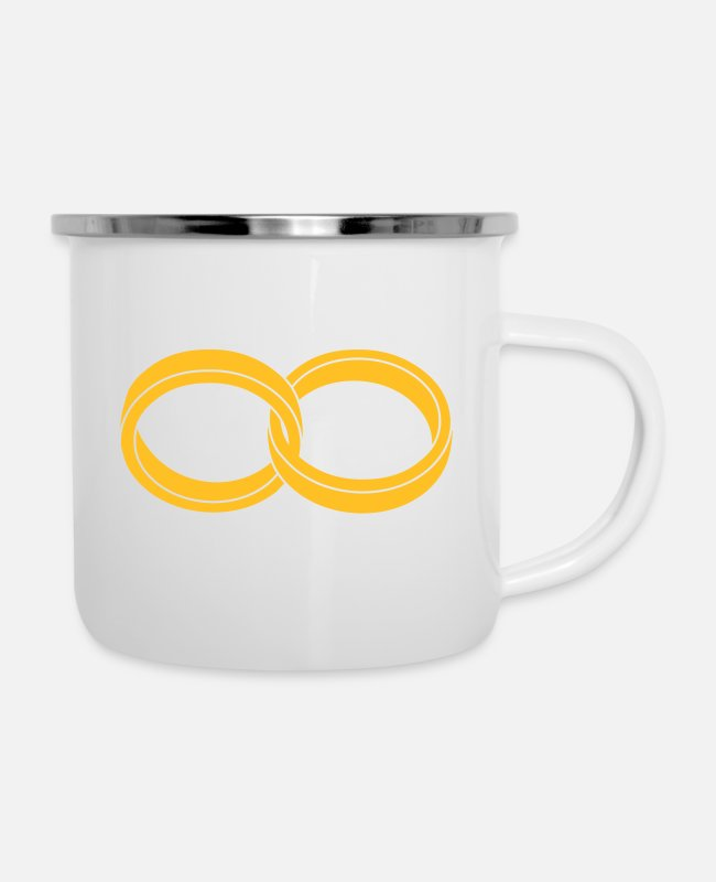 P121562528 Mugs & Drinkware - wedding rings - like a Symbol of infinity - Enamel Mug white