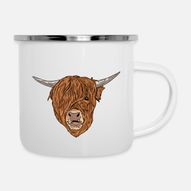 Kälbchen Scottish Highland Cattle Face Highland Cattle Cow - Enamel Mug
