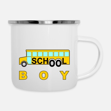 Schule schule school boy schule schulbus #schule %schule - Emaille-Tasse