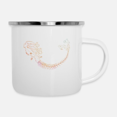 Mermaid Orange Outline - Emaille-Tasse