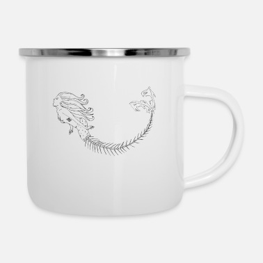 Mermaid Black Outlines - Emaille-Tasse
