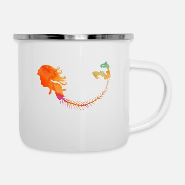 Mermaid Orange - Emaille-Tasse
