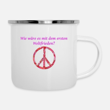 Peace - Emaille-Tasse