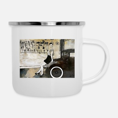 Rockabilly Cartoon Frau mit Oldtimer / Rockabilly - Emaille-Tasse