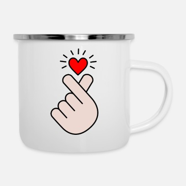 Korea Pop Music K pop heart, korea, k pop, music, symbol, hand, pop - Enamel Mug