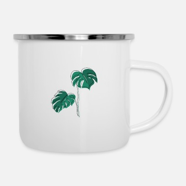 Minimum Monstera, Lineart, plant, Pflanze, Blad, Minimaal - Emaille mok