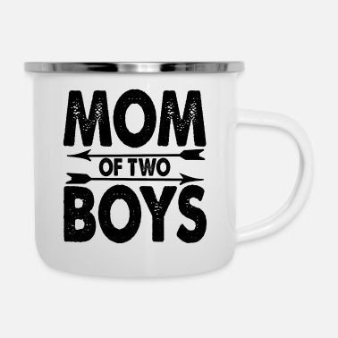 2 Mom 2 Söhne Kinder Jungs Mutter - Emaille-Tasse