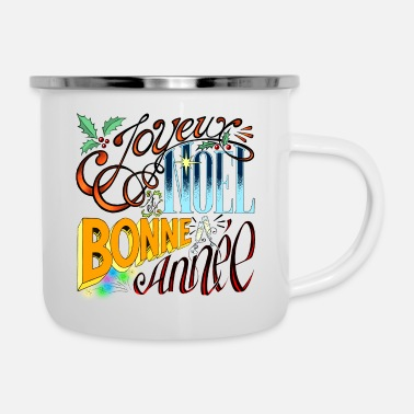 Merry Christmas and Happy New Year - Vintage Lettering - Enamel Mug
