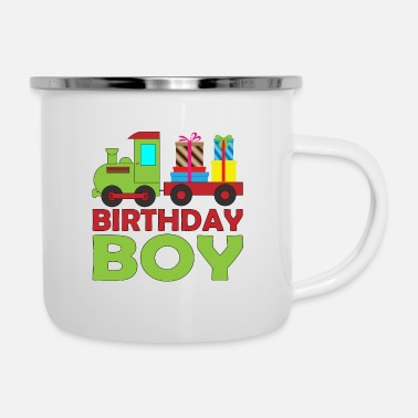 Brother Of Birthday Boy Railway steam train birthday for boy brother - Enamel Mug