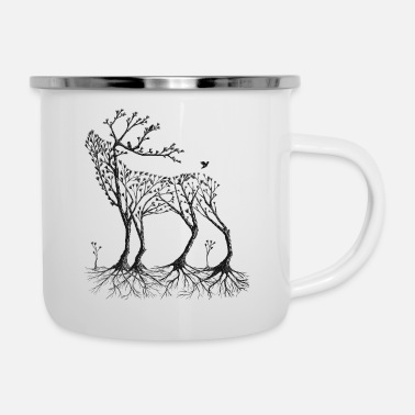 Forest Forest deer in black - Enamel Mug