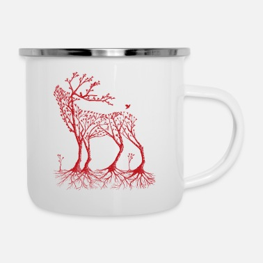 Wald Wald-Hirsch in rot - Emaille-Tasse
