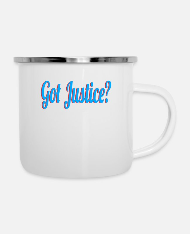 Decency Mugs & Drinkware - Curious with presence of justice? Grab this cool - Enamel Mug white