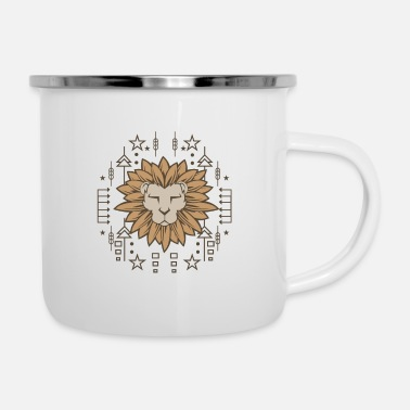 Drawing Painting Symbol Lion native wall painting drawing gift - Enamel Mug