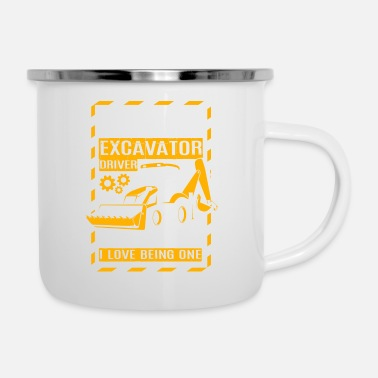 Construction Worker Excavator Woman Gift · Gek - Emaille mok
