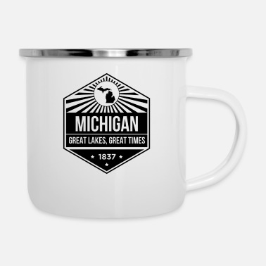 Michigan Tees Michigan State Motto Design - Große Seen, Großartig - Emaille-Tasse