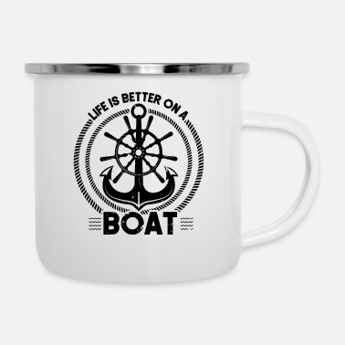 Motor Boat Life is better on the boat Motor Boating Captain - Enamel Mug