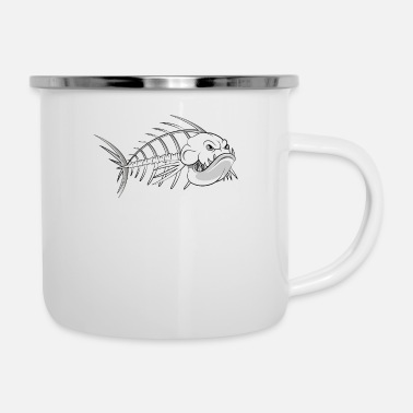 Skeleton Costume Bass Fish Skeleton Gift for Aquatic Horror Fan - Enamel Mug