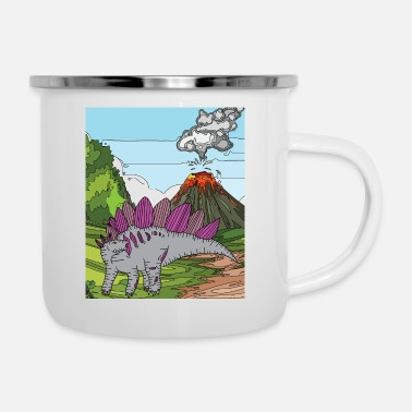 Volcano Time Dino Volcano Eruption Nature - Enamel Mug