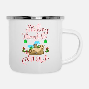 Nase slothing through the snow - Emaille-Tasse