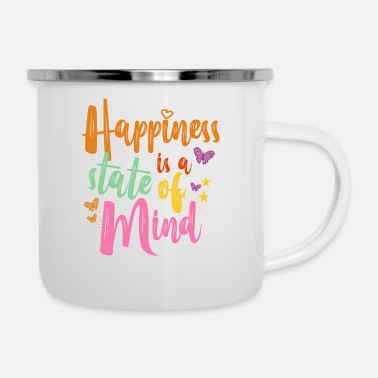 Typo Colorful outfit butterfly girl motive - Enamel Mug