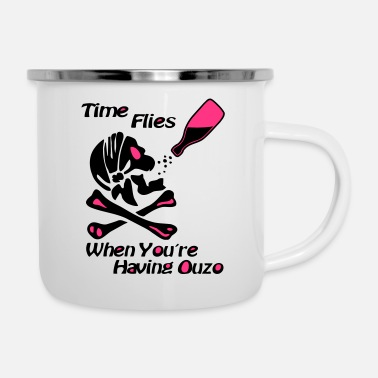 Griechenland Time Flies Ouzs Shirt - Emaille-Tasse