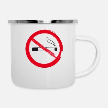 Drawing Painting Symbol No Smoking - Icon Symbol Brush Drawing - Enamel Mug