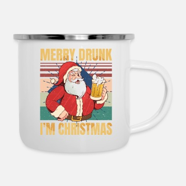 Hipster Merry Drunk I'm Christmas - Drinking Beer Lover - - Emaille mok