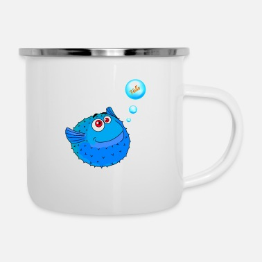 Fish Cute Blue Puffer Fish - Enamel Mug